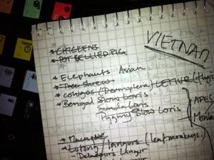 La première page du carnet du Mari avec des idées pour les possibles animaux à inclure dans Battlefield : Bad Company 2 Vietnam. Cochon sauvage : coché !